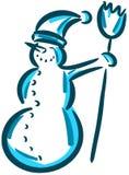 Bonhomme de neige de sourire stylisé d'isolement Image libre de droits