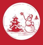 Bonhomme de neige de symbole de Noël de croquis avec l'arbre Images stock