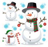 Bonhomme de neige différent sur le calibre blanc illustration stock