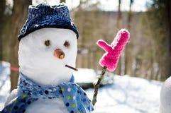 Bonhomme de neige drôle Photographie stock