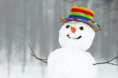 Bonhomme de neige drôle de l'hiver photographie stock