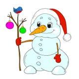 Bonhomme de neige drôle avec des jouets Bonhomme de neige de personnage de dessin animé d'isolement Photos libres de droits
