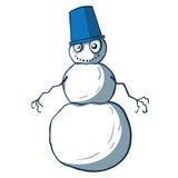 Bonhomme de neige drôle de bande dessinée avec le seau. Vecteur Images libres de droits