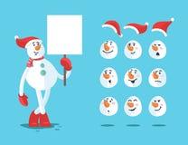 Bonhomme de neige drôle Positionnement de vecteur de bande dessinée Images stock