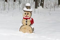 Bonhomme de neige en bois Images libres de droits