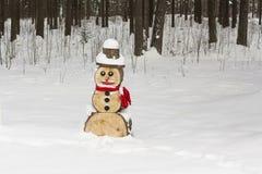Bonhomme de neige en bois Images stock