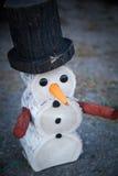 Bonhomme de neige en bois décoratif Image libre de droits
