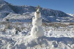 Bonhomme de neige en chutes de neige fraîches le long de la route 33 au nord d'Ojai, la Californie Photos stock