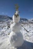 Bonhomme de neige en chutes de neige fraîches le long de la route 33 au nord d'Ojai, la Californie Images stock