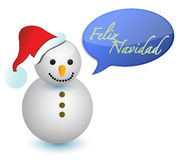 Bonhomme de neige espagnol avec le signe de Joyeux Noël Images stock