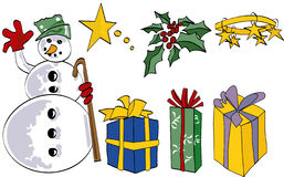 Bonhomme de neige et éléments Images libres de droits