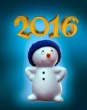 Bonhomme de neige et 2016 Photographie stock libre de droits