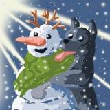 Bonhomme de neige et chien, illustration de Noël, nuit de Noël, arbre brillant, humeur de fête Image libre de droits