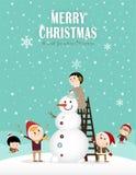 Bonhomme de neige et enfants A Photos stock