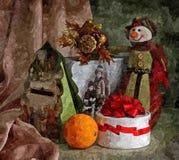 Bonhomme de neige et jouets gais de Noël De Noël toujours durée Aquarelle humide de peinture sur le papier Art naïf illustration de vecteur