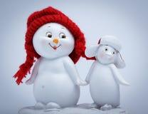 Bonhomme de neige et pingouin gais Images libres de droits