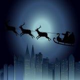 Bonhomme de neige et pleine lune avec le fond de Noël et le vecteur de carte de voeux Images stock