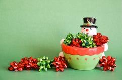 Bonhomme de neige et proues - vert Photo libre de droits