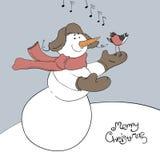 Bonhomme de neige et son ami - bullfinch. illustration stock