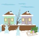 Bonhomme de neige et traîneau Photos stock