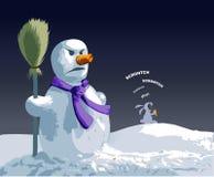 Bonhomme de neige fâché Images stock