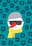 Bonhomme de neige fâché moderne élégant avec la coiffure illustration de vecteur