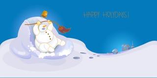 Bonhomme de neige gai Photographie stock libre de droits