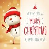 Bonhomme de neige gai avec la grande enseigne Conception de lettrage de calligraphie de Joyeux Noël illustration stock