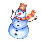 Bonhomme de neige gai d'aquarelle illustration de vecteur