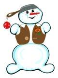 Bonhomme de neige gai sur un fond blanc. Photos libres de droits