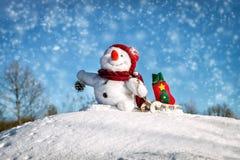 Bonhomme de neige heureux avec le chapeau Photo libre de droits