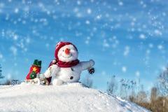 Bonhomme de neige heureux avec le chapeau Photographie stock