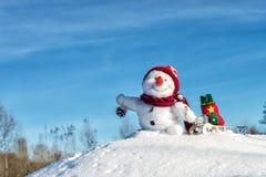 Bonhomme de neige heureux avec le chapeau Image libre de droits