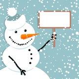 Bonhomme de neige heureux, carte de Noël Photo stock