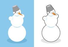 Bonhomme de neige Homme fait en neige pendant la nouvelle année Caractère mignon de Noël Photographie stock