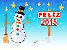 Bonhomme de neige jugeant un poteau indicateur de bonne année écrit sur l'Espagnol Photos stock