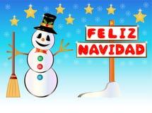 Bonhomme de neige jugeant un poteau indicateur de Joyeux Noël écrit sur l'Espagnol Images stock