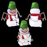 Bonhomme de neige mauvais dans trois poses Image stock