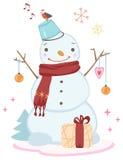 Bonhomme de neige mignon de Noël Photographie stock libre de droits