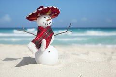 Bonhomme de neige miniature utilisant le sombrero et l'écharpe mexicains sur le beac Photographie stock