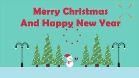 Bonhomme de neige de mouvement d'animation avec le cadeau Joyeux Noël illustration stock