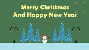 Bonhomme de neige de mouvement d'animation avec le cadeau Joyeux Noël illustration libre de droits