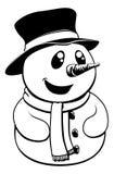 Bonhomme de neige noir et blanc de Noël Image stock
