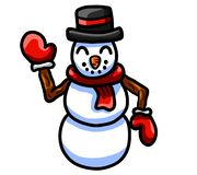 Bonhomme de neige de ondulation heureux illustration stock
