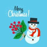Bonhomme de neige plat de Joyeux Noël image stock