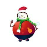 Bonhomme de neige positif avec le chapeau et la main rouges  Photos stock