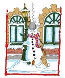 Bonhomme de neige se penchant contre un lampadaire avec un lapin Photos libres de droits