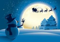 Bonhomme de neige seul saluant Santa Sleigh Images stock