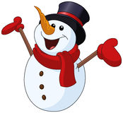 Bonhomme de neige soulevant des bras illustration stock