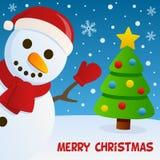 Bonhomme de neige souriant et carte de voeux Photographie stock libre de droits